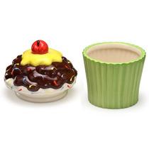 Pote Cupcake Ceram Listrado Verde E Branco