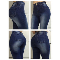Calça Jeans Cós Alto Com Elastano Estilo Hot Pants