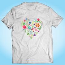 Camisa Coração Flores Floral Amor Desenho Personalizada