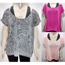 Kit 3 Blusas Manga Japonesa Fitness Plus Size Animal Print