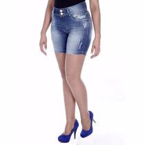 Sawary Bermuda Jeans Levanta Bumbum Cintura Média Sabrina