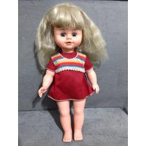 Boneca Antiga Da Estrela 39cm Olhos Abrem E Fecham