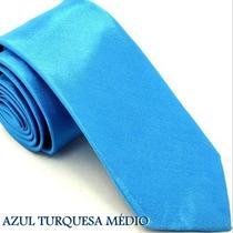 Gravata Slim Fit Azul Turquesa Médio Poliéster Acetinado Top