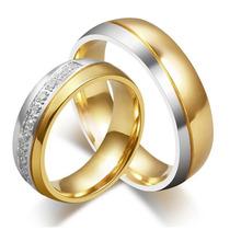 Aliança Banhada Ouro Prata De Compromisso Noivado Casamento