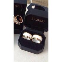 Aliança Bvlgari D/cerâmica Branca Banhada Em Ouro 18kilates