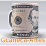 Caneca Decorada Com Nota De 5 Dólares