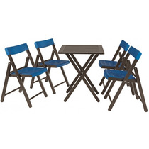 Conjunto Mesa/cadeira Potenza Tabaco C/azul Tramontina