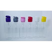 100 Garrafinhas De Plástico 50ml C/ Tampa Flip Top Coloridas