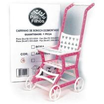 Carrinho De Boneca Bebê Brinquedo Rosa E Branco - 9121