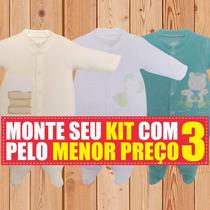Macacão De Bebe Kit Tip Top Longo Em Plush Saida Maternidade