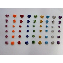 400 Laços Adesivos Mini Eva C/ Glitter Pet Shop Banho E Tosa