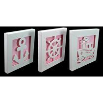 Trio De Quadro Decorativo - Marinheiro - 29x3,5 Fundo Rosa