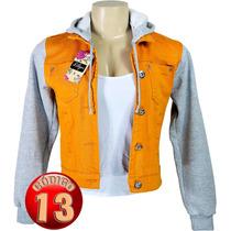 Jaqueta Jeans Colorida Feminina Com Moleton Super Felpudo
