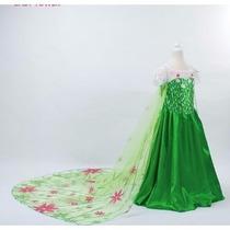Fantasia Elsa Frozen Fever Luxo Com Cauda Longa Promoção