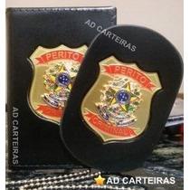 Carteira Porta Funcional + Bolachão Perito Criminal - Couro