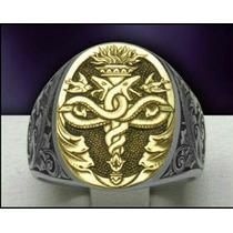 Anel Masculino Luxury Ouro18k E Prata 950