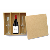 Caixa Duas Taças E Mini Vinho -casamento - Mdf Crú - Festa