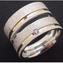 Par De Alianças Compromisso Prata 950 E Ouro 18k. Diamantada