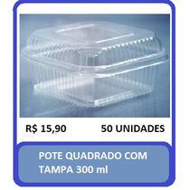 Embalagem Pote Com Tampa Quadrada Doce Bolo 300ml C/50