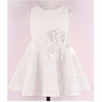Vestido Infantil Branco De Renda Pronta Entrega