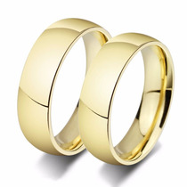 Par Alianças Noivado Casamento 6mm Banho De Ouro 18k Baratas