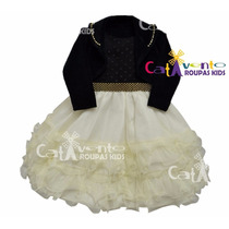 Vestido De Festa Infantil Luxo Com Bolero E Tiara De Brinde