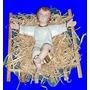 Linda Imagem Menino Jesus Na Manjedoura 32cm Em Gesso