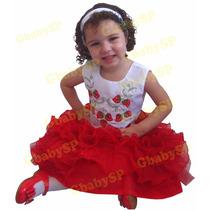 Vestido Infantil Moranguinho - Festa Bebê - 01 A 03 Aninhos