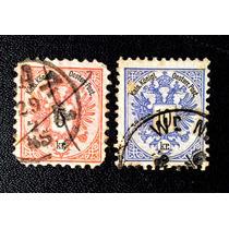 Raros Selos Da Áustria Águia Dupla (1883): 5 Kr + 10kr