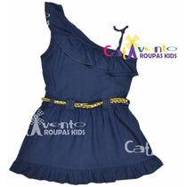 Vestido Infantil Jeans Com Cinto - Pronta Entrega