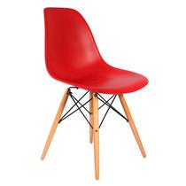 Cadeira Em Abs Design Charles Eames Wood Dsw Eiffel Vermelha