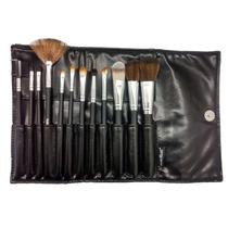 Kit 12 Pincéis Maquiagem Profissional Couro = Mac Sigma