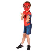 Fantasia Homem Aranha Com Máscara Pronta Entrega