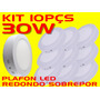 Kit 10pçs Plafon Led Redondo Sobrepor 30w Bco Frio Bi-volt