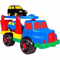Caminhão Cegonha Com 2 Carrinhos Maptoy Plástico Roda Livre