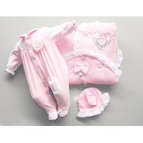Saída De Maternidade Menina Luxo Macacão Plush Vermelho Rosa