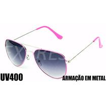 Óculos Feminino De Sol Estilo Aviador Uv400 Lente Escura