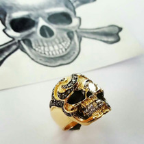 Anel Masculinocaveira Ouro 18k E Diamante Branco Top0,53cts