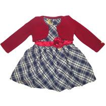 Bolero Vermelho E Vestido Infantil Xadrez Azul Gira Baby