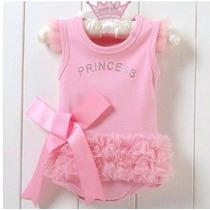 Body Vestido Importado Princesa Bailarina Rosa Roupa Bebê