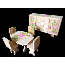 Mesa 4 Cadeiras E Bufê Com Gavetas Em Madeira - Brinquedo