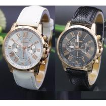 Relógio Analógico Caixa Dourada Feminino Geneva Kit C/ 2 Und