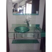 Gabinete De Vidro Verde Para Banheiro De 70cm