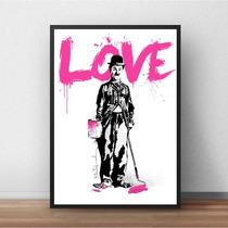 Quadro Decorativo Com Moldura - Chaplin Love