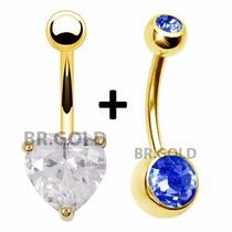 Kit Piercings De Umbigo Pedra Azul + Coração Banhados A Ouro