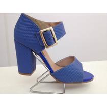 Sandália Feminina Salto Alto Grosso Azul Confort Firezzi