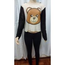 Blusa De Frio Feminina De Tricot Cardigã Ted/urso C/ Brilho