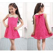 Vestido Infantil Rosa Choque De Renda - Pronta Entrega