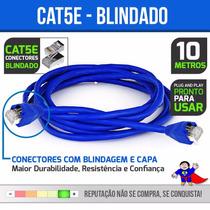 Cabo De Rede Ethernet 10 Metros Internet Plug Blindado Cat5e