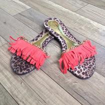 Rasteirinha Fashion Com Franjas E Strass Coral Ou Azul Bic